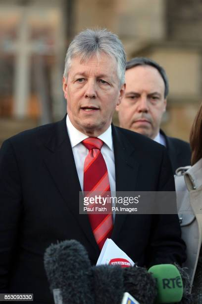 First Minister Peter Robinson speaks outside Stormont Castle, Belfast, as he has lifted his threat to resign over the controversy about on-the-run...