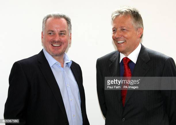 First minister Peter Robinson with Scottish Labour Party leader Jack McConnell who spoke at a devolution forum at the Ulster Hall in Belfast.