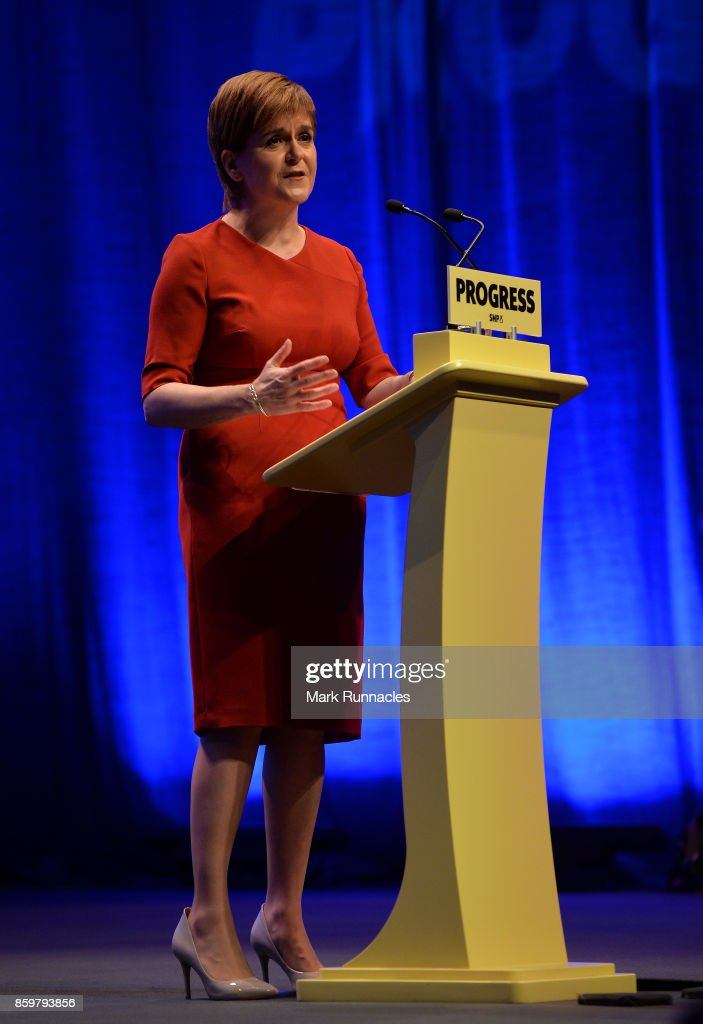 First Minister & SNP Leader Nicola Sturgeon addresses delegates as she makes her keynote speech at The SNP Autumn Conference 2017 at the Scottish Exhibition and Conference Centre on October 10, 2017 in Glasgow, Scotland. The Scottish National Party have gathered in Glasgow for the 83rd Annual National Conference. Over the three day period, the conference will set out SNP plans for the future of Scotland.