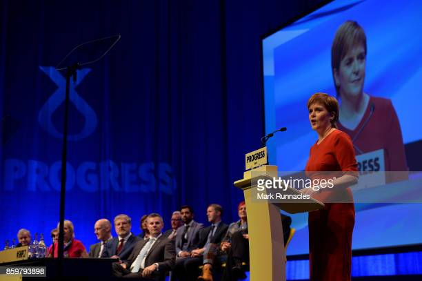 First Minister & SNP Leader Nicola Sturgeon addresses delegates as she makes her keynote speech at The SNP Autumn Conference 2017 at the Scottish...