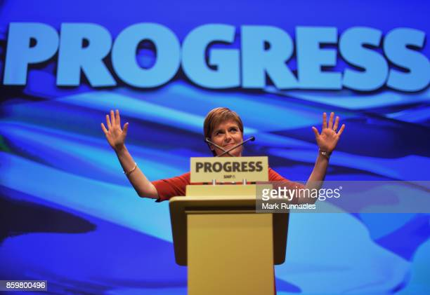 First Minister SNP Leader Nicola Sturgeon addresses delegates as she makes her keynote speech at The SNP Autumn Conference 2017 at the Scottish...