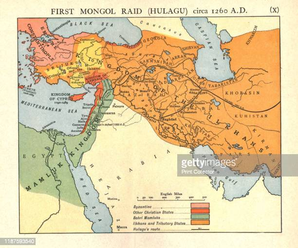 First Mongol Raid circa 1400 AD' circa 1915 Map of civilisations in the Middle East during the early 15th century Byzantine other Christian states...