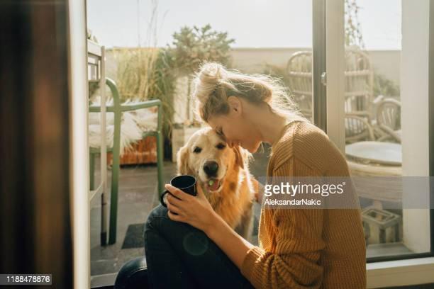 caffè del primo mattino con un'azienda - soltanto un animale foto e immagini stock