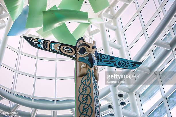 First Nation art is displayed throughout the Vancouver International Airport terminal on June 2, 2013 in Vancouver, British Columbia, Canada....