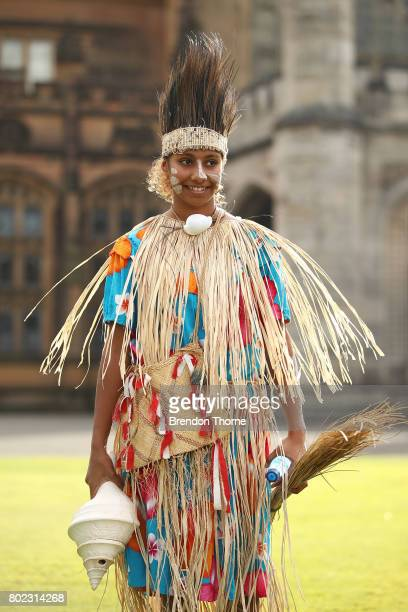 First Nation woman dressed in traditional attire looks on at Government House on June 28 2017 in Sydney Australia The flags will fly permanently...