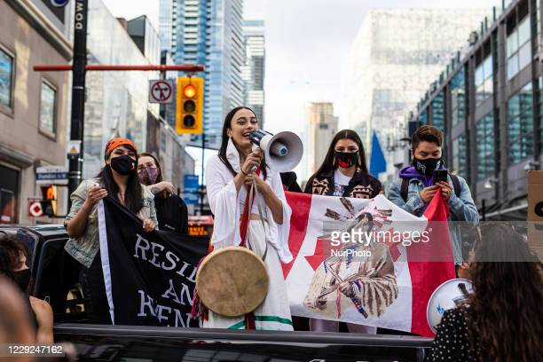 First Nations activists and allies blocked the intersection of Yonge and Dundas Street in Toronto for almost three hours Friday October 23, 2020. The...