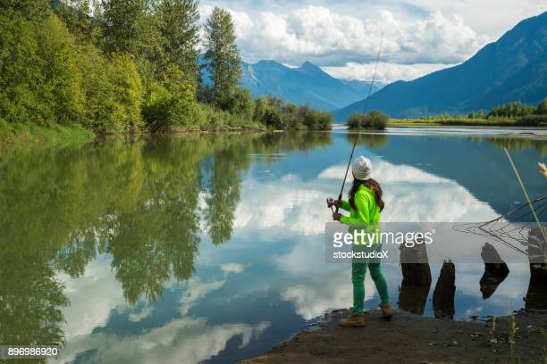 first nations canadian woman fishing - first nations stock pictures, royalty-free photos & images