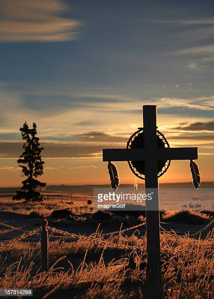 first nations grave marker on indian reservation - first nations stock pictures, royalty-free photos & images