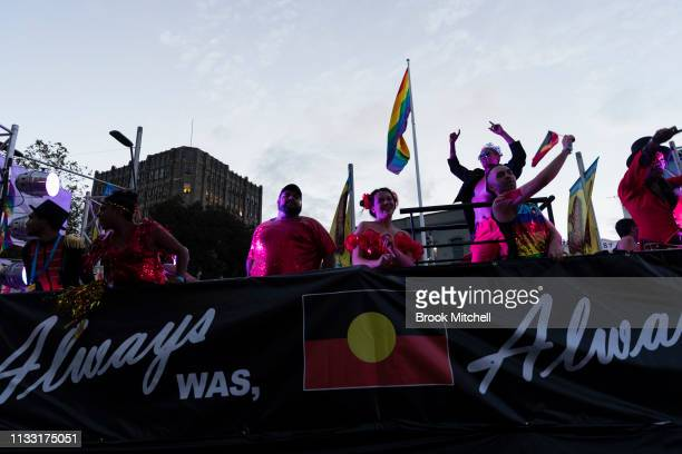 First Nations participants are seen during the 2019 Sydney Gay Lesbian Mardi Gras Parade on March 02 2019 in Sydney Australia The Sydney Mardi Gras...