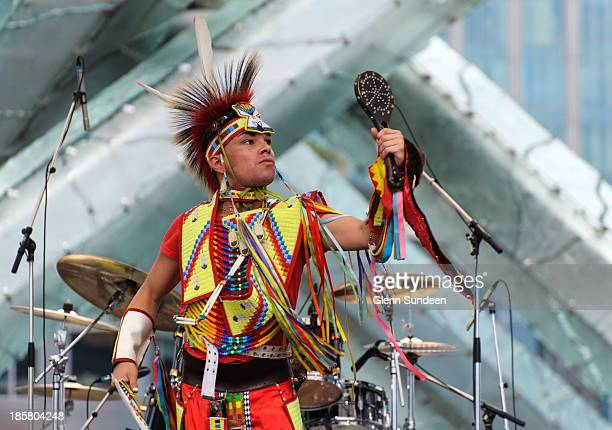 First nations performer at the Canada Day celebrations in downtown Vancouver. Performer, performance, First Nations, native, Indian, dance,...