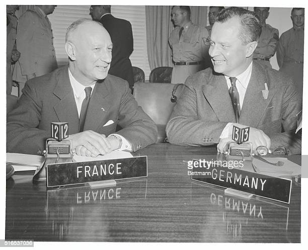 First NATO Meeting For Representative Of West Germany. Washington, DC: Dr. Hasso von Etzdorg, right, of the German Federal Republic, is shown with...