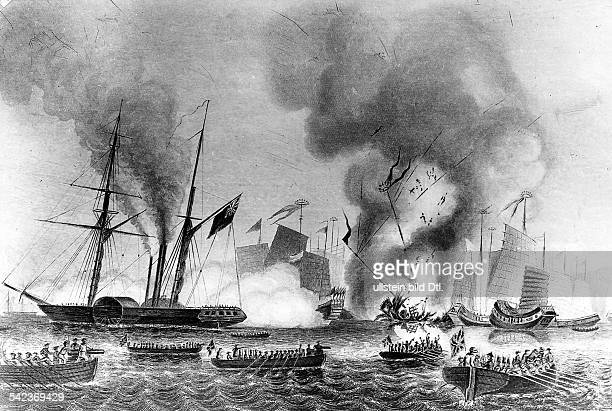 First Opium War East India steamer Nemesis and other boats destroying chinese war junks in Anson ' s bay 07January 1841