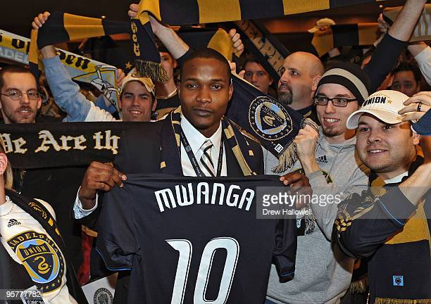 First overall draft pick Danny Mwanga of the Philadelphia Union poses for a photograph with fans during the 2010 MLS SuperDraft on January 14 2010 at...