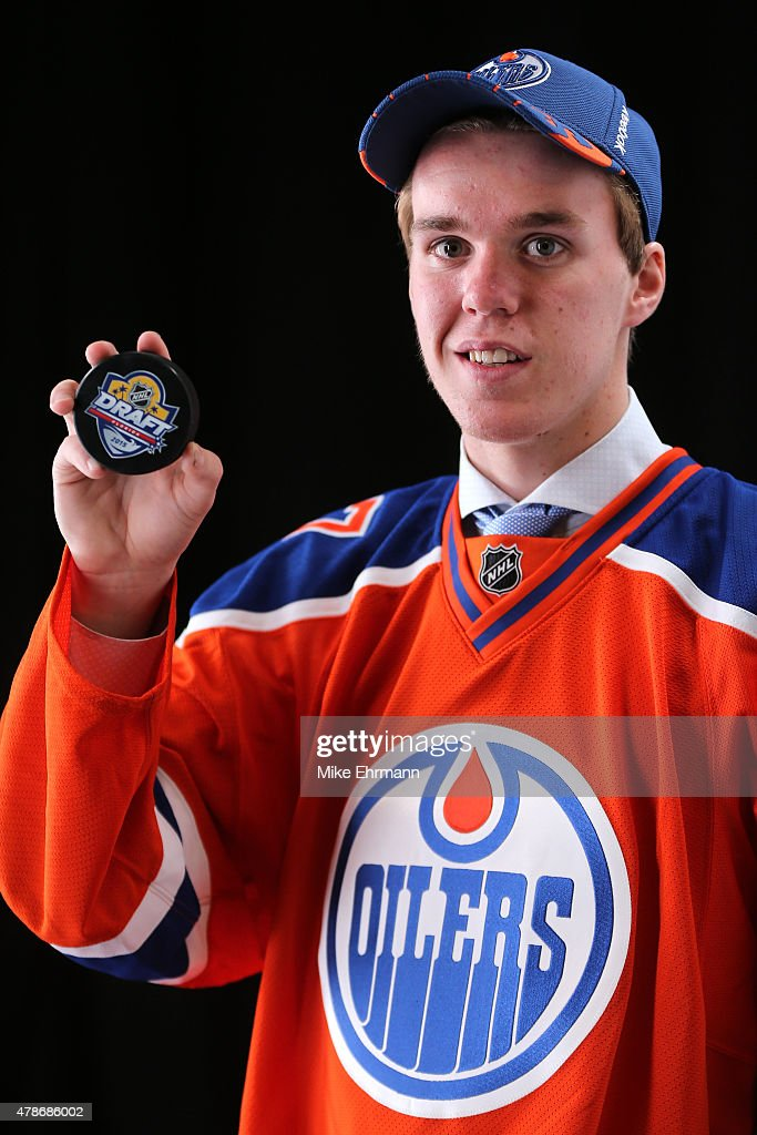 First overall pick Connor McDavid of the Edmonton Oilers poses for a portrait during the 2015 NHL Draft at BB&T Center on June 26, 2015 in Sunrise, Florida.