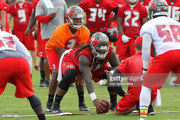 2015 first overall pick in the NFL Draft Jameis Winston sets up to take the snap from center Josh Allen during the Buccaneers OTA at One Buccaneer...