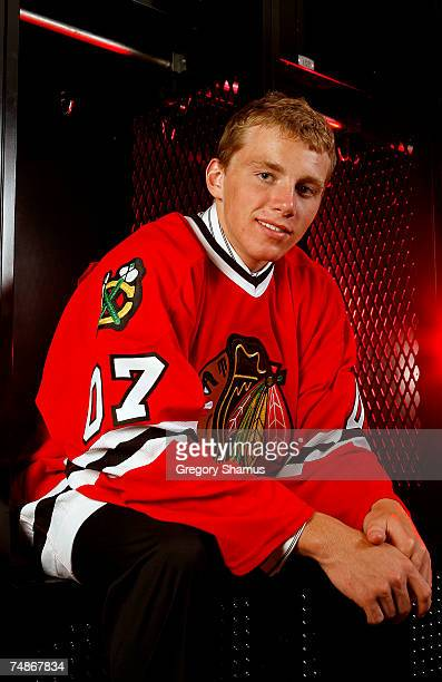 First overall pick Patrick Kane of the Chicago Blackhawks poses for a portrait during the first round of the 2007 NHL Entry Draft at Nationwide Arena...