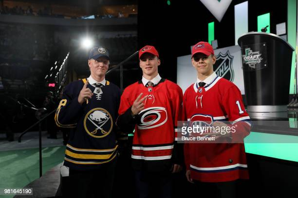 First overall Rasmus Dahlin of the Buffalo Sabres, second overall Andrei Svechnikov of the Carolina Hurricanes and third overall Jesperi Kotkaniemi...