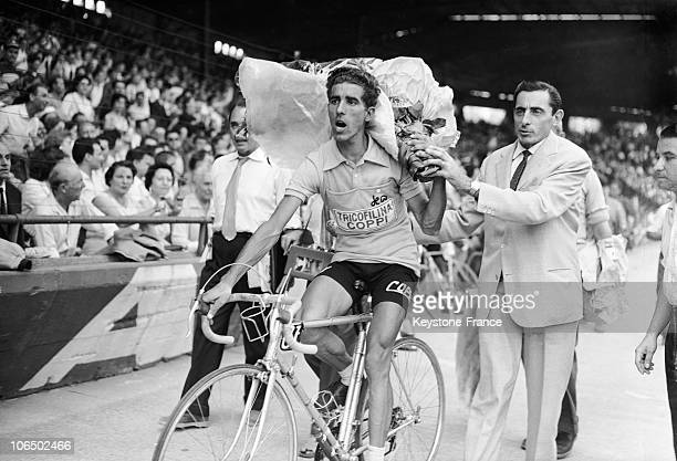 First Overall Tolede'S Help Being Congratulated By His Manager Fausto Coppi Before The Lap Of Honour In Parc Des Princes Paris 19590718