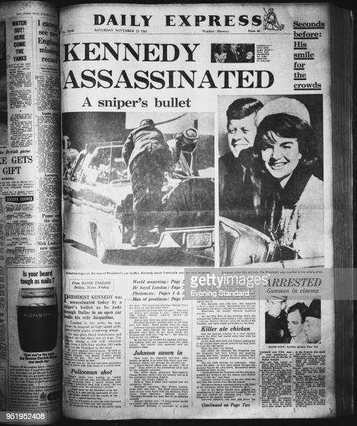 First page of the Daily Express Number 19746 Saturday November 23rd 1963 with title 'Kennedy Assassinated A sniper's bullet' photo taken 7th June 1968