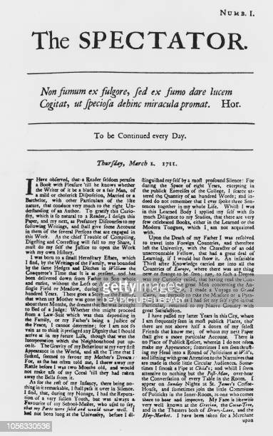 First page of the first issue of the newspaper The Spectator, March 1 United Kingdom, 18th century.