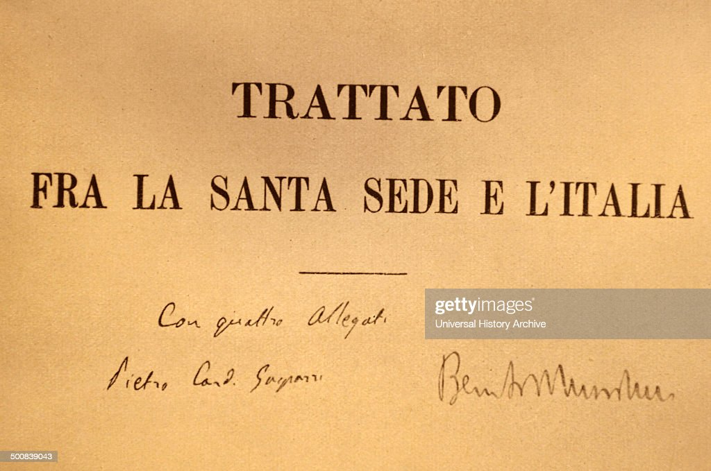 First Page Outside Of The Lateran Treaty With The Signatures Of