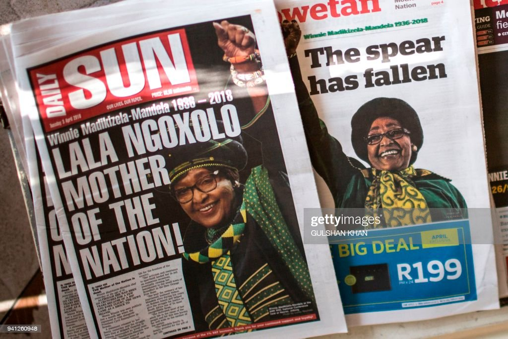 First pages of South African newspapers are pictured the day
