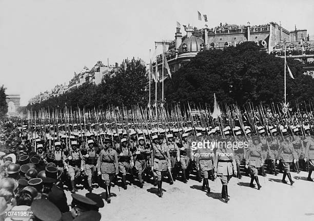 First Parade Of French Foreign Legion For July 14Th Parade Capitaine Dimitri Amilakvari At Champs Elysees In Paris On 1939
