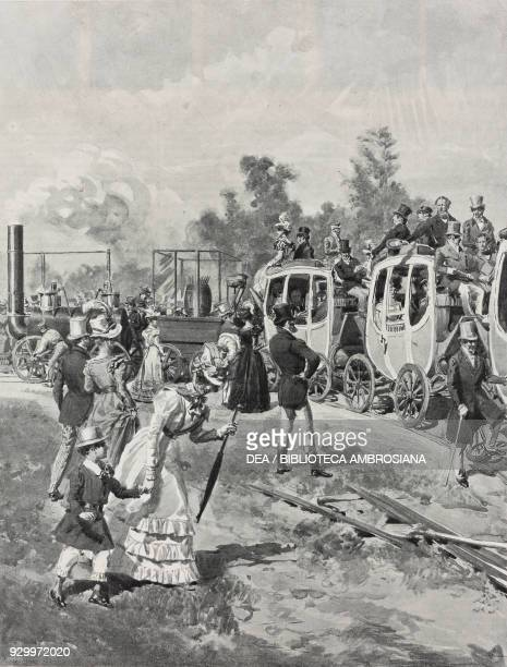 First passenger train on the StochtonDarlington railway line opened September 25 drawing by Edoardo Matania from period documents The great...