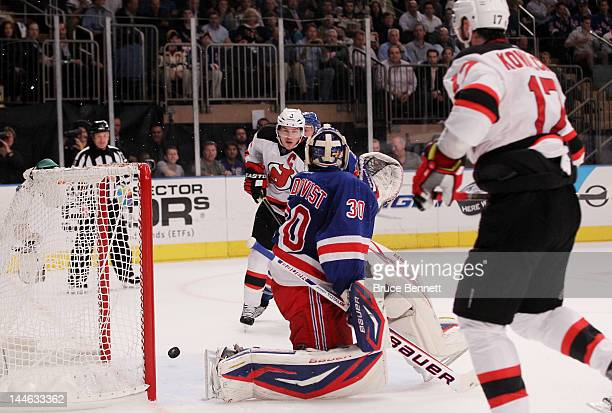 First period goal by Ilya Kovalchuk of the New Jersey Devils gets past Henrik Lundqvist of the New York Rangers in Game Two of the Eastern Conference...