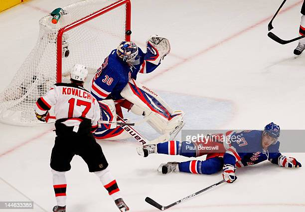 A first period goal by Ilya Kovalchuk of the New Jersey Devils gets past Henrik Lundqvist of the New York Rangers in Game Two of the Eastern...