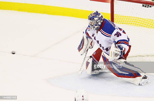First period goal by Travis Zajac of the New Jersey Devils gets past Henrik Lundqvist of the New York Rangers in Game Four of the Eastern Conference...