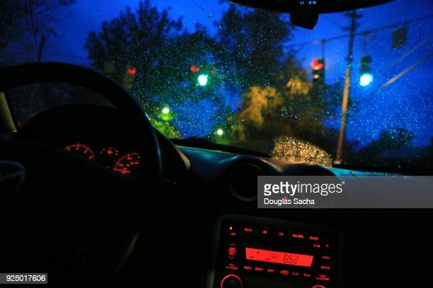 first person view of a moving car - dashboard camera point of view stock photos and pictures