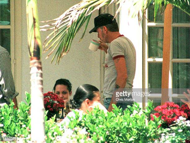 First photos of actress Angelina Jolie and her new husband actor Billy Bob Thornton sharing a romantic lunch together May 09 under the warm...