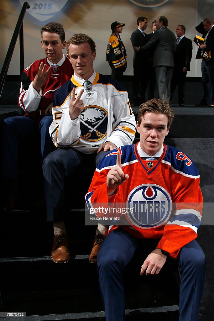 First pick Connor McDavid (Bottom) of the Edmonton Oilers, second pick Jack Eichel (C) of the Buffalo Sabres and third pick Dylan Strome (Top) of the Arizona Coyotes poses during the first round of the 2015 NHL Draft at BB&T Center on June 26, 2015 in Sunrise, Florida.