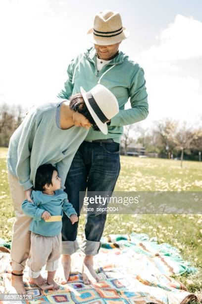 First picnic for family of three