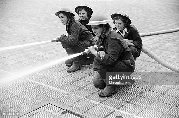 F first pictures of Women's Fire Service Pump Crews competition with the BBC Womens Crew at HQ London Fire Force 17 June 1942