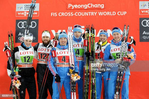 First Place Andrey Parfenov and Gleb Retivykh of Russia second place Baptiste Gros and Lucas Chanavat of France and third place Artem Maltsev and...