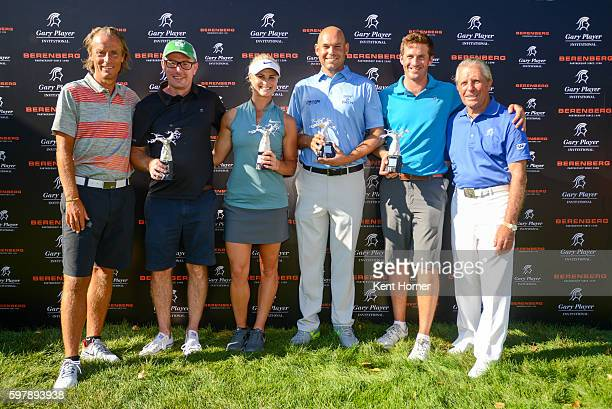 First place Champions pose with their awards during the The Berenberg Gary Player Invitational 2016 New York at GlenArbor Golf Club on August 29 2016...