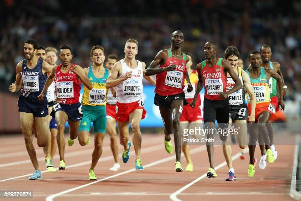First place, Elijah Motonei Manangoi of Kenya leads second placed Asbel Kiprop of Kenya and third placed Timo Benitz of Germany across the finish...