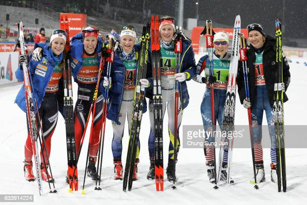 First Place Elin Mohlin and Maria Nordstroem of Sweden second place Anna Svendsen and Silje Oeyre Slind of Norway and third place Sophie Caldwell and...