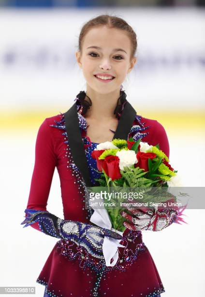 First place finisher Anna Shcherbakova of Russia poses for a photo after the junior ladies free skate at the 2018 Junior Grand Prix of Figure Skating...