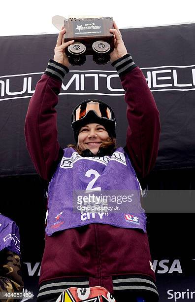 First place finisher Cheryl Maas of the Netherlands celebrates her win after the FIS Snowboard World Cup 2015 Women's Snowboard Slopestyle Final...