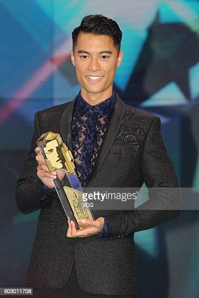 First place Jackson Lai poses after the Mr Hong Kong Pageant 2016 at TVB City on September 11 2016 in Hong Kong China