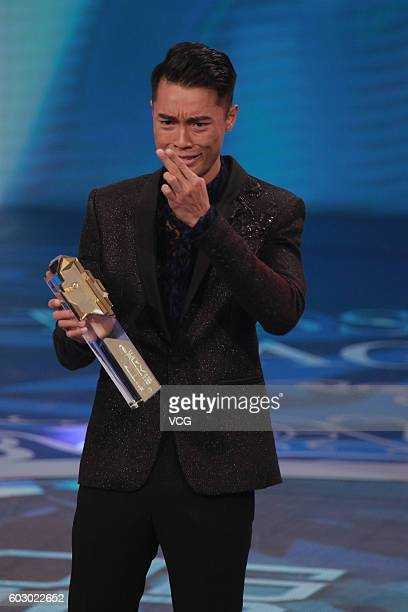 First place Jackson Lai poses during the Mr Hong Kong Pageant 2016 at TVB City on September 11 2016 in Hong Kong China