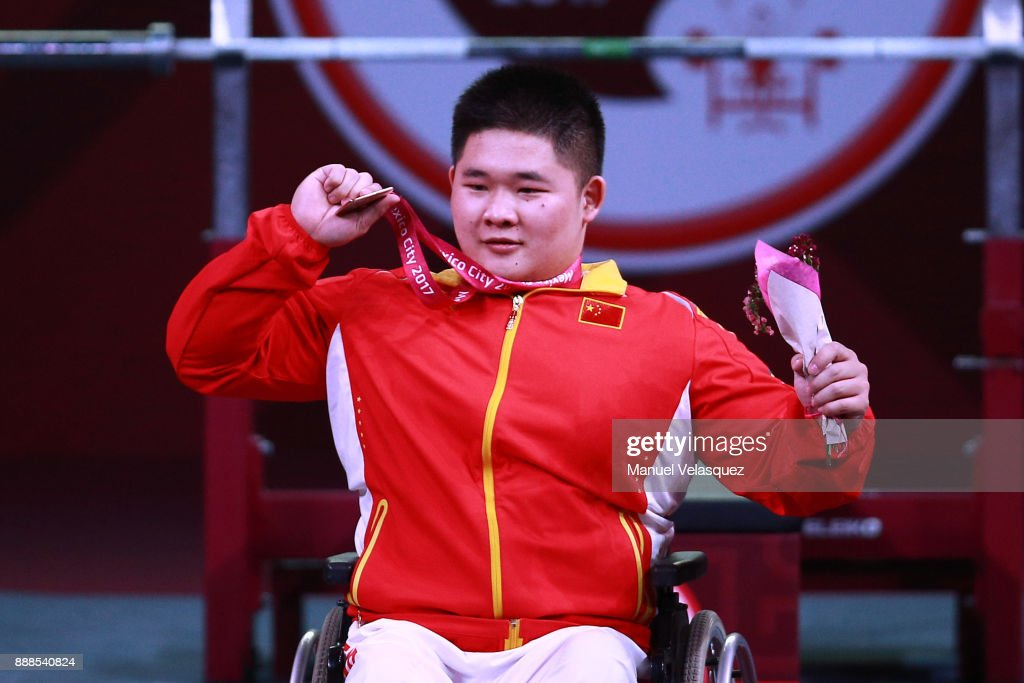 First Place, Jixiong Ye of China celebrates with his medal during the Men's Upt to 88Kg Group B Category as part of the World Para Powerlifting Championship Mexico 2017 at Juan de la Barrera Olympic Gymnasium on December 6, 2017 in Mexico City, Mexico.