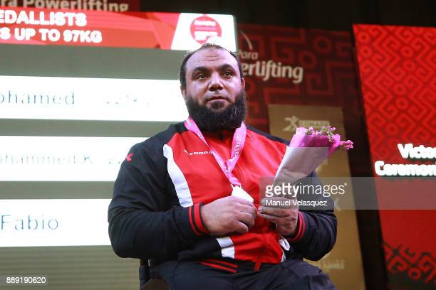 First Place Mohamed Eldib of Egypt poses with his medal during the Men's Up to 97Kg Group A Category as part of the World Para Powerlifting...