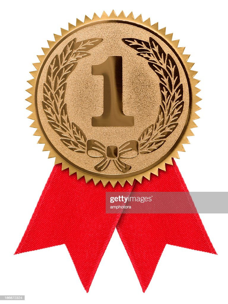 A first place red ribbon against a white background : Stock Photo
