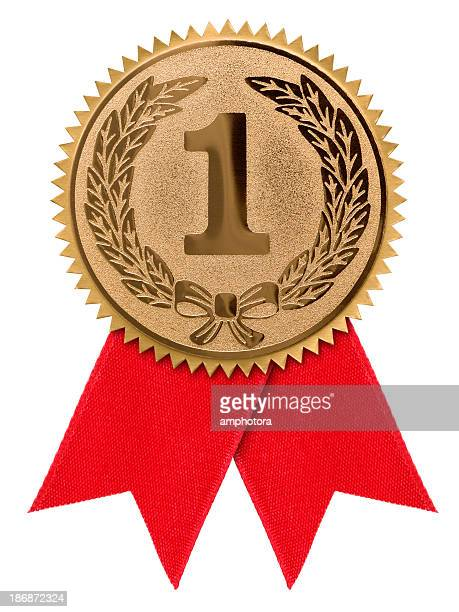 a first place red ribbon against a white background - blue ribbon stock photos and pictures
