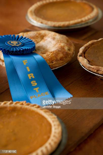 first place ribbon on homemade pie - contestant stock pictures, royalty-free photos & images