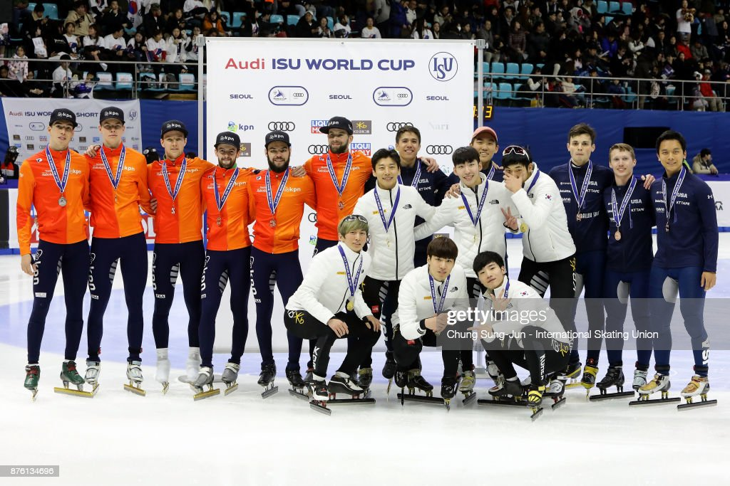 First Place, Seo Yi-Ra, Kim Do-Kyoum, Kwak Yoon-Gy and Lim Hyo-Jun of South Korea, second place Sjinkie Knegt, Daan Breeuwsma, Itzhak de Latt and Mark Prinsen of Netherlands third place J.R. Celski, John-Henry Krueger, Thomas Insuk Hong and Keith Carroll of United States celebrate during the victory ceremony for the Men 5000m Relay Finals during the during the Audi ISU World Cup Short Track Speed Skating at Mokdong Ice Rink on November 19, 2017 in Seoul, South Korea.
